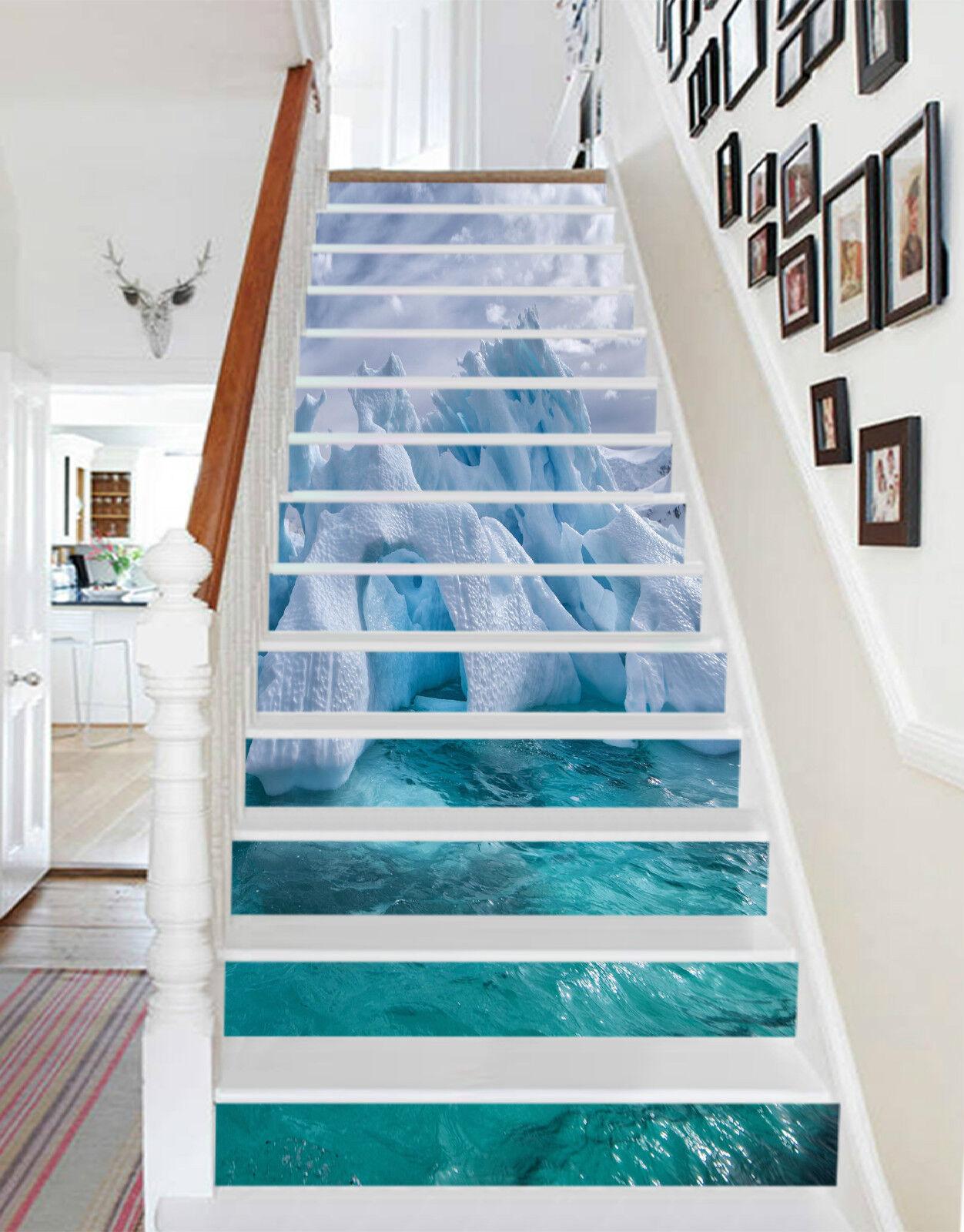 3D Eisberg Natur 45 Stair Risers Dekoration Fototapete Vinyl Aufkleber Tapete DE