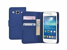 Wallet BLUE Leather Case Cover for Samsung Galaxy Core Plus SM-G350 / G3502