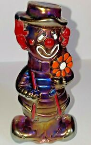 Boyd-Art-Glass-Virgil-The-Clown-Happy-Sad-Royal-Plum-Carnival-15-made-4-28-1995