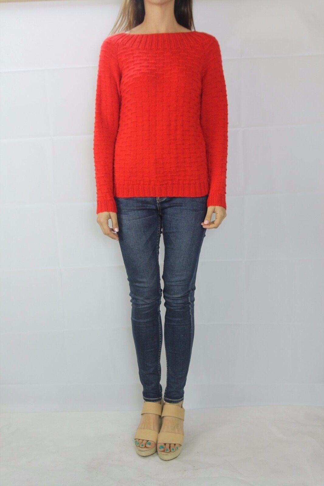 VINTAGE Red Knit Jumper 1980's Wool Sweater Size XS (8 AU Beste fit)