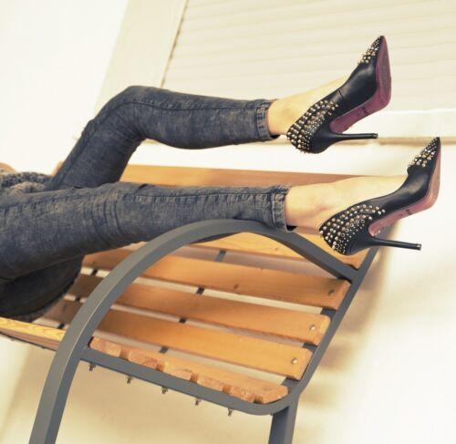 Señora tacón alto zapatos de salón tacón zapatos negro tachuelas ocupado rosa roja suela de pintura
