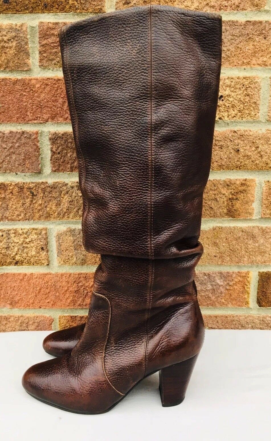 FAITH Ladies Brown Knee High Boots Real Leather 4 36 Chunky Medium Heel  Ruched