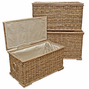 Wicker Trunk Chest Lined Storage Laundry Basket Bedroom Bathroom