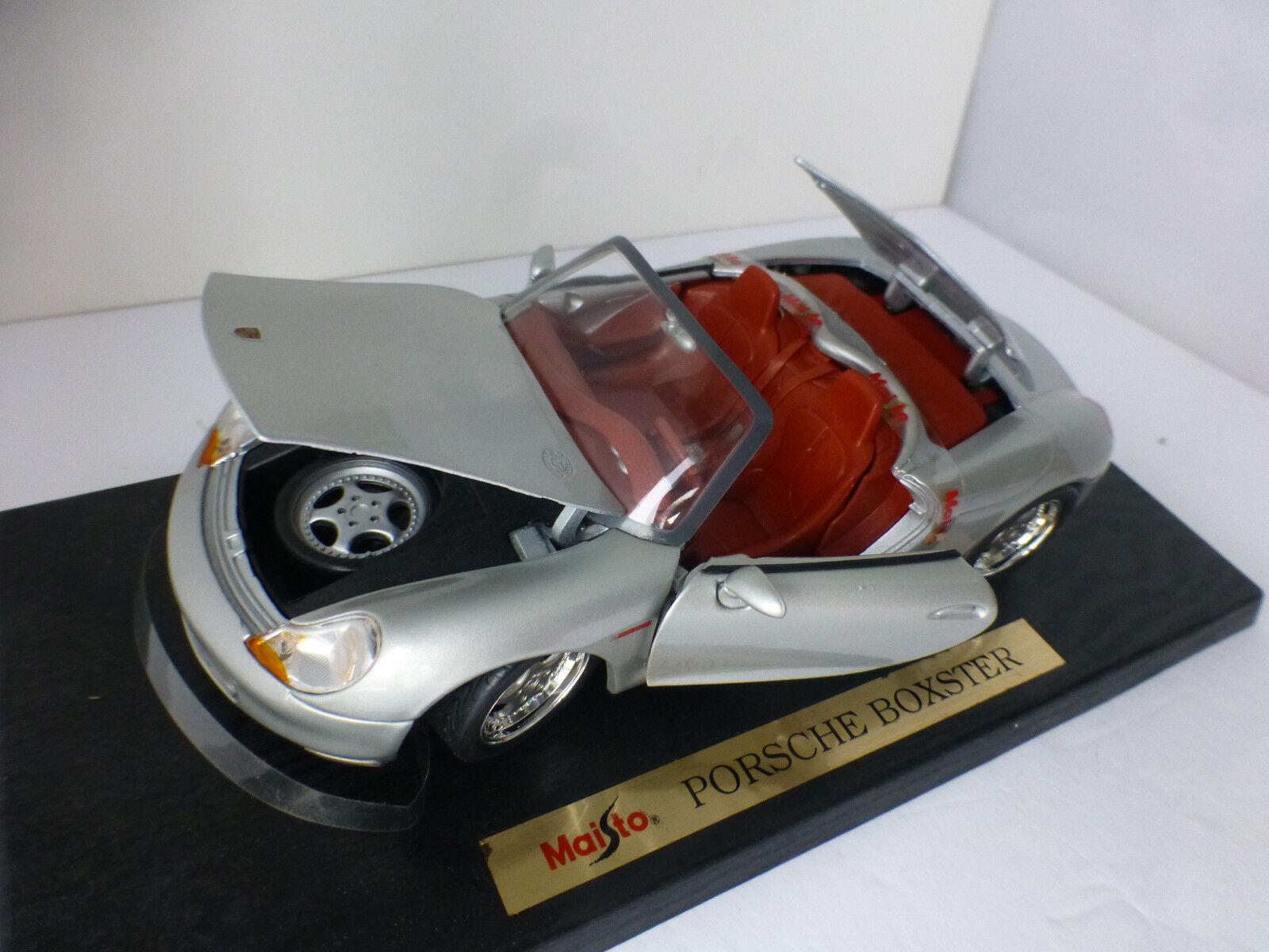 Maisto Porsche Boxster Plata 1 18 escala Capó Tronco y puertas abiertas Original Concep