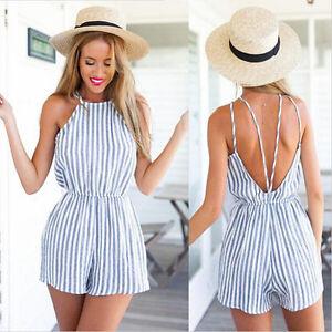 cada9930c030 Women Sexy Summer Mini Beach Holiday Blue Stripe Clothes Short Dress ...