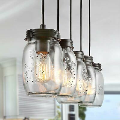 factory price c1f5b cc51b LNC Adjustable Mason Jar Kitchen Island Lighting Multi-Pendant Chandelier |  eBay