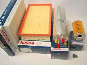 OE BOSCH Service Kit Oil Air Fuel Cabin Filter Sump Plug VW T5.1 T6 2.0TDI 2010>