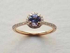0-75-Carat-Genuine-Tanzanite-amp-White-Diamond-Ring-in-14k-Rose-Gold