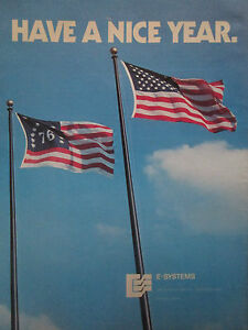 10/1975 Pub E-systems 1976 New Year Star Spangled Banner America Drapeau Flag Ad Ev6olldd-07225204-452254527