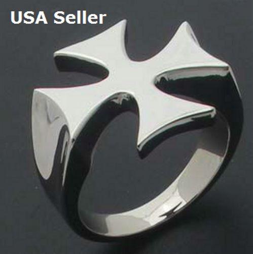 Men's Stainless Steel Biker Ring High Polish Iron Cross Gift US Sizes 8-13 NEW