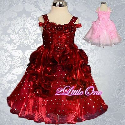 Sequins Ruffle Detail Dress Wedding Flower Girl Pageant Birthday Size 12m-4T 108