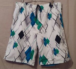Motive-Mens-Board-Shorts-White-Blue-Green-Modern-Pattern-checked-Size-XL