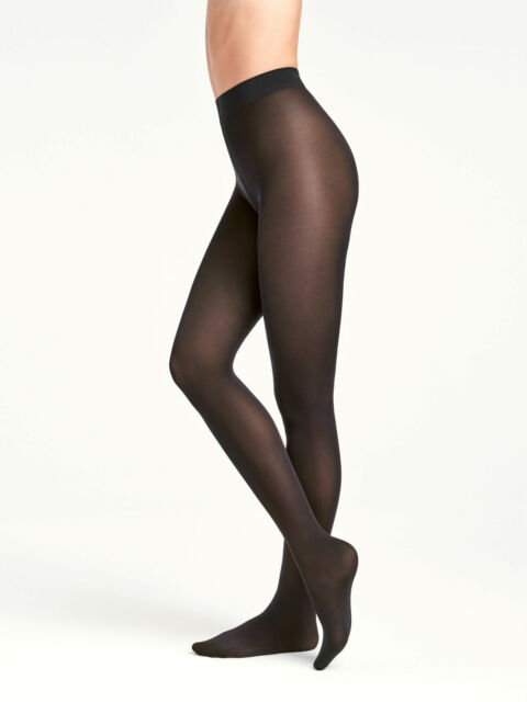 Wolford NWT 7005 Black Velvet De Luxe 66 Tights Size M