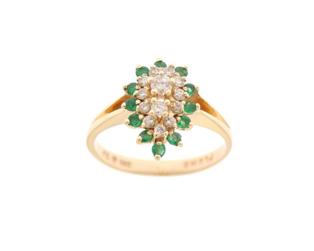14K YELLOW gold .20 CARAT DIAMOND CLUSTER RING W  EMERALD HALO