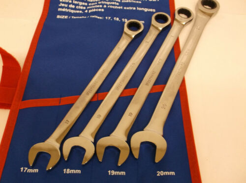 K TJ New 4 Pc Metric Extra Long Ratcheting Wrench Set  17,18,19,20 MM