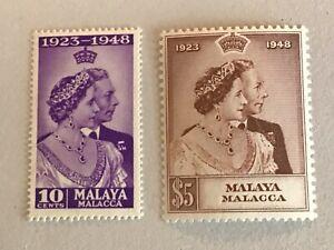 Malacca / Malaya stamps 1948 KGVI RSW MH