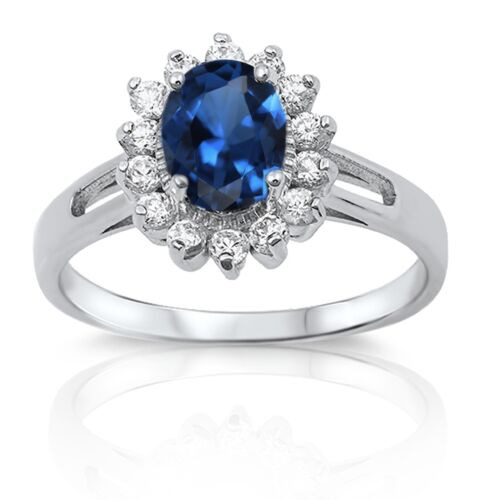 Oval Halo Simulated Diamond Genuine Sterling Silver Ring