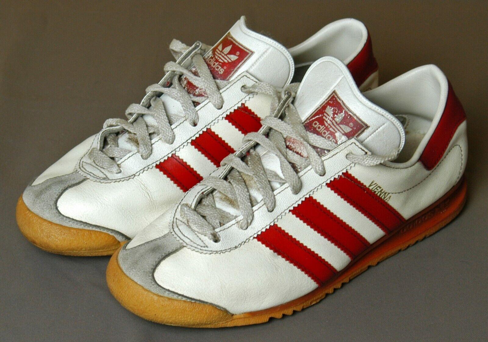 Adidas VIENNA, Gr. 36   UK 4, Weiß   Rot, Leder, 70er Jahre Made in West Germany