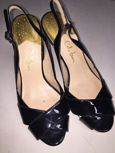 49132fb6d9 COLE HAAN Air Black Leather Peep Toe Slingbacks High Heels Pumps 6B ...