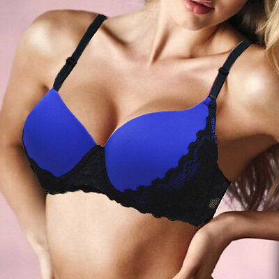 Women Push up Bra Lace Embroidery Padded Plunge Underwire Bras 32-40 A B C D Cup