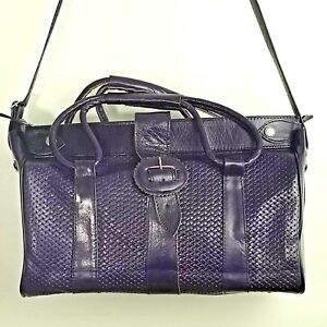 Christmas-Gift-Leather-Overnight-Travel-Bag-Carry-On-Tote-Djerbian-Purple-Small