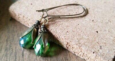 Glass Pearl Earrings seafoam green classic silver leverback USA seller