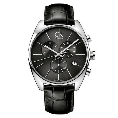 Orologio Calvin Klein Ck Swiss Made Pelle Nero Crono K2F27107 Exchange Data New