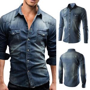 Men-039-s-Casual-Shirt-Slim-Fit-Long-Sleeve-Dress-Shirt-Jeans-Denim-T-shirt-Tops