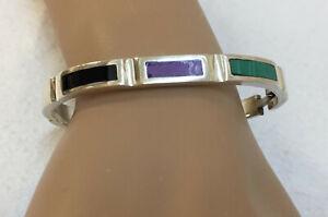 Bracelet-Sterling-Silver-925-Bangle-Onyx-Malachite-Sugilite-Mexico-Taxco-Vintage