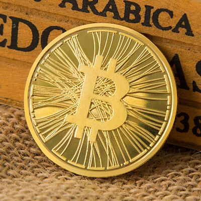 BITCOIN in acrylic case gold plated real souvenir gift BTC fast shipping