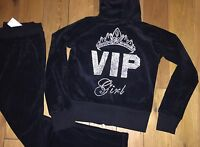 NEW WOMENS BLACK/NAVY BLUE  VELOUR TRACK SUIT VIP GIRL  MOTIF  BLUE SIZE 8 TO 18