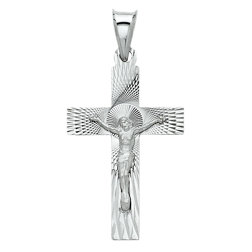 Free Chain Real 14k White gold Cross Jesus Crucifix Dia Cut Charm Pendant Unisex