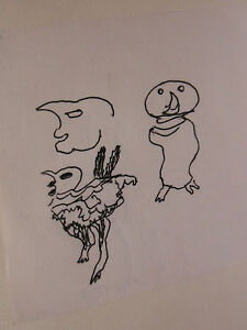 Dessin-Original-Slavko-KOPAC-Kopa-1913-1995-Art-Brut-Animaux-Croatie-SK7
