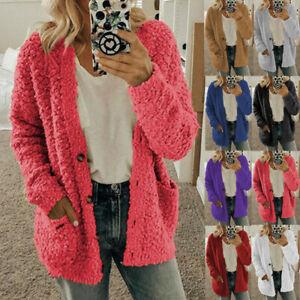 Womens Long Sleeve Fleece Fluffy Cardigan Sweater Pocket Coat Jacket Oversized
