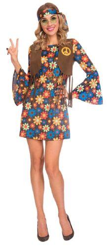 Donna Vintage Fiore Festival Hippy Hippie 60s 70s Costume UK 8-18
