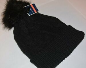 2909c1a07 Details about WEST LOOP WOMEN'S HAT BLACK POM POM FUZZ BALL ONE SIZE NEW  WITH TAG
