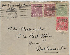 Stamps Australia various KGV on cover sent airmail Brisbane to Derby WA, RARE
