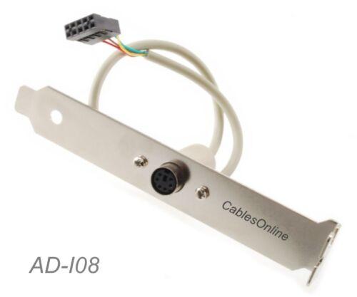 PS//2 Mini-Din 6Pin Female to 2x5 IDC Female Motherboard Header Adapter w//Bracket