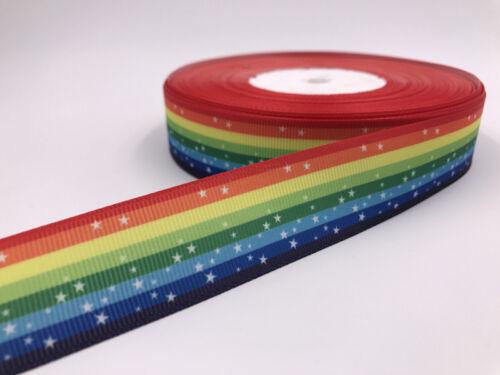 "5-10Yards 1/""25mm Printed rainbow Grosgrain Ribbon Hair Bow Sewing"