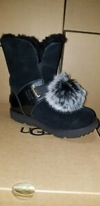 ad22f0c0194 Details about UGG Girls Isley Black/Patent WP Boot with Detachable Fluff  Ball. US 3