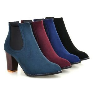 Women-039-s-Plus-Size-Suede-Fabric-Ankle-Boots-Round-Toe-Block-High-Heel-Shoes