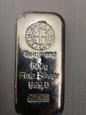 Argor-Heraeus SA Silver Bar (500 Grams .999 Pure Fine Silver)