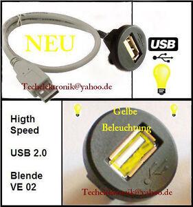 USB-Einbaubuchse-BELEUCHTUNG-50cm-passend-fuer-Astra-Corsa-Vectra-WRX-STI-Avensis