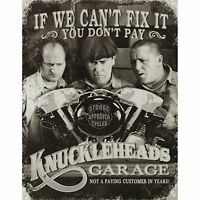Three Stooges Tin Metal Sign : Knuckleheads Garage , 16x13 By Poster Discount, N on Sale