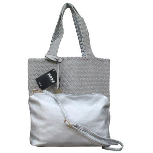 Damen Schultertasche Bag in Bag Wendetasche Beuteltasche Shopper Leder Optik gef