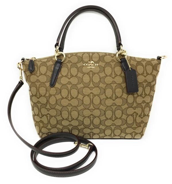 Coach Outline Signature Small Kelsey in Khaki and Brown - NWT - $275 MSRP!