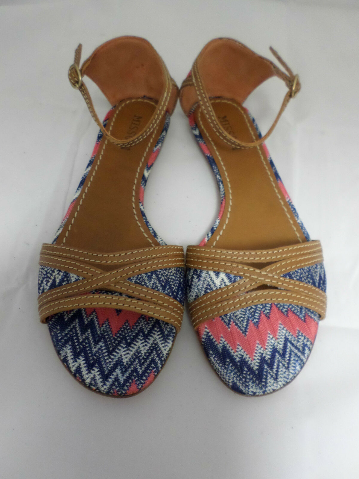 Missoni TM27 Textile Ankle 4 Strap Sandales Blau Größe 4 Ankle Uk 37 Eur EM 481 032588