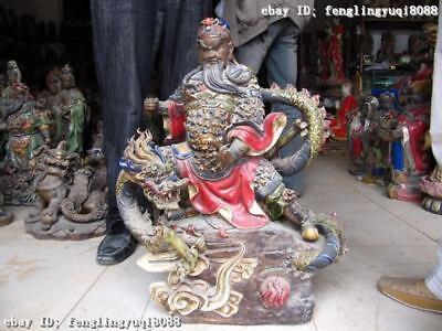 24 Inch China Folk WuCai porcelain on Dragon Guan Gong Guan YU warrior Statue