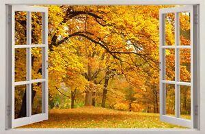 Decorazione Finestre Autunno : Adesivi da parete finestra effetto d alberi di autunno