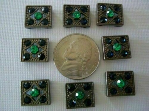 2 Hole Slider Beads Mini Rectangle Blue Made With Swarovski Elements #9